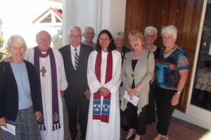 Service of celebration as Wayne Woodcock was acknowledged as Pauanui's Anglican co-ordinator on 9th March 2014, surrounded and supported by the Ministry Support Team and bishop Bruce Gilberd.