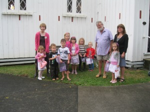 Organisers and youngsters all ready for their Easter Egg hunt.
